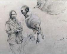 "Explaining the Evolutionary Drift, 2010, graphite and acrylic on panel, 11 3/4 x 19 3/4 x 2"""