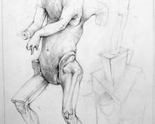 """Figure with Glass Leg 2006 Graphite, ink, acrylic on paper 10 x 6"""""""