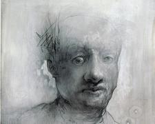 "Fogged Head, 2012, graphite, acrylic on paper, 9 x 9"""