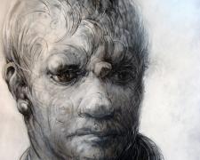 """Large Synthetic Head, 2012, acrylic on panel, 59 x 43 1/2 x 2 3/4"""""""