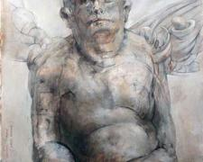 """Lazy Angel, 2010, graphite, acrylic on paper, 11 1/8 x 7 1/2"""""""