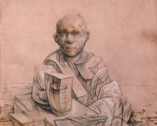 "Monument 2013 graphite, acrylic on panel 8 x 7 x 1"""