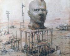 """Monument to the Great Propagandist, 2010, chalk, graphite, acrylic on panel, 14 x 11 x 2 3/4"""""""
