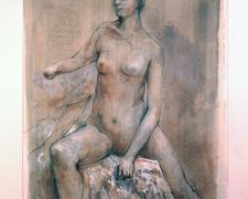Myra with Hand-Breast, 2010, graphite, ink, acrylic on paper, i.s. 19 3/4 x 6 3/4""