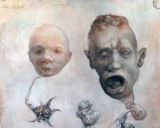 """Nuclear Family, 2010, graphite, acrylic on paper, 10 x 11 1/2"""""""