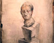 "Sculpture, 2014, graphite, acrylic on panel, 12 x 9 x 3"""