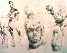 "Six Figures 2014 graphite, red chalk, acrylic, on panel 14 1/2 x 19 x 2"""
