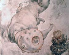 """Systems for Budding New Universes, 2009, chalk, graphite, and acrylic on panel, 21 x 14 1/2 x 2 3/4"""""""
