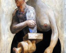"""The Great Muse 2004 Acrylic, ink, oil on panel 15 x 9 5/8 x 6 3/4"""""""