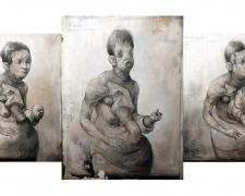 """The Triplet Triptych, 2014, retouched first generation toner, acrylic transfer print on panel, 12 x 26 x 3"""""""