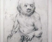 """Vintage Infant Model (Sage Baby), 2010, graphite, 10 x 7 5/8"""""""