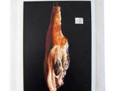 "Ham Suspended From Twine, 2012, acrylic on panel, f.s. 31 1/2 x 24"" / i.s. 23 1/2 x 17"""