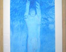 "Haman, 2010, conte and acrylic wash on paper, f.s. 45 3/4 x 26 1/2"" / i.s. 37 1/4 x 15"""