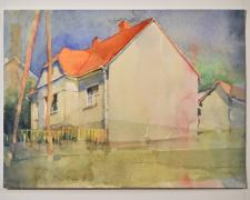 "150718 haus of rest, 2015, watercolor, p.s. 9 x 12 1/8"" / f.s. 13 1/4 x 16 1/8"""