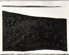 "Mirror or Mirage XX, 2016, asphalt, sand, tar on paper, p.s. 23 x 30"" / f.s. 28 5/8 x 36 1/2"""