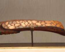 Horizon, 2002, mesquite, patinated copper, marble, brass, 5 1/2 x 25 3/4 x 5""