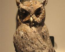 Gray Screech Owl 2008 Blown/off-hand sculpted glass 18 x 8 x 10""