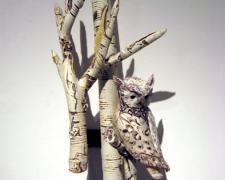 Light Faced Screech Owl in Birch 2007 Blown/off-hand sculpted glass 24 x 14 x 11""