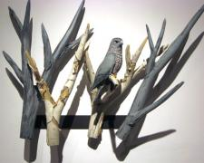 Sharp Shinned Hawk 2008 Blown/off-hand sculpted glass 29 x 15 x 13""