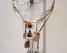 "Blingcatcher, 2015, mixed media: intaglio, video, gilding, found objects, 36 x 21"", sized varied"