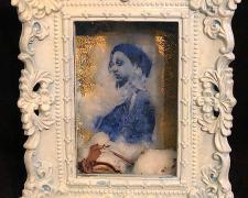 "Blue Constance, intaglio on raw cotton found objects, 9 x 7 x 5 1/2"""