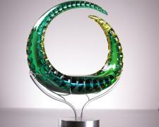 Mizuki, 2012, blown glass, diamond ground, polished, 16 x 16 x 4""