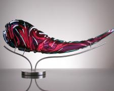Scrimshaw, 2012, blown glass, diamond ground, polished, 10 x 24 x 5""