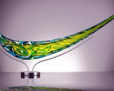 Tsunami, 2012, blown glass, diamond ground, polished, 18 x 37 x 6""