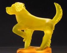 Dog, 2005, cast and carved glass, 10 x 10 x 3 1/2""