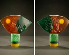 Regeneration, 2001, cast and carved glass, 15 3/4 x 16 x 4 1/2""