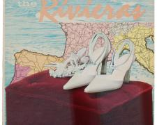 The Rivieras, 2010, mixed media on vintage album cover, f.s. 18 x 18""