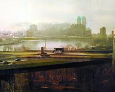 The East River, 2003, mixed media on panel, 10 x 30""