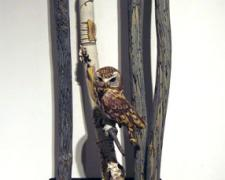 Western Pygmy Owl 2008 Blown/off-hand sculpted glass 30 x 14 x 11""
