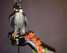 """Red Orchid Falcon, 2005, blown and sculpted glass, 25 x 14 x 7"""""""