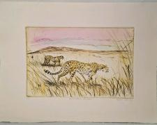 """Katie Oliver, Grass Plain - Serengeti, 1998, etching with unique hand coloring, edition of 25, s.s. 10 x 12 3/4""""/i.s. 6 x 9"""""""