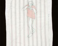 "Ape Boy, 2010, acrylic and stitching on found fabric, 11 x 17"""