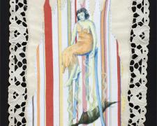 Ape Oracle, 2010, acrylic and stitching on found fabric, 9 x 13""