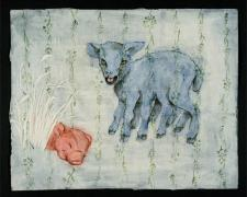 "Blue Lamb 2006 acrylic, charcoal, paper 18 x 24"""