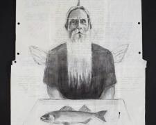 "The Fisherman and His Lure 2012 acrylic, charcoal on re-purposed paper frame: 29 1/2 x 23""/i.s. 24 x 18"""