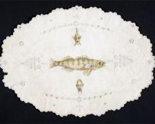 "Fisherman, 2010, acrylic on found fabric, 10 x 13"""