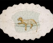 """Lioness, 2010, mixed media on found fabric, 11 x 17"""""""