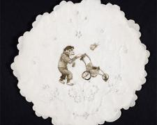 "Little Ape Boy, 2010, ink on found fabric, 10"" round"