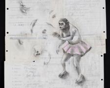 "Magical Ape 2012 acrylic, charcoal on re-purposed paper frame: 29 1/2 x 23""/i.s. 24 x 18"""