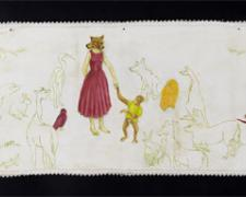 Menagerie, 2011, acrylic on found fabric, 36 x 12""