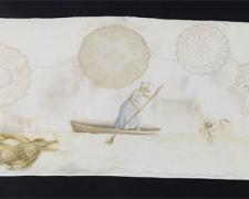 "Odyssey, 2011, acrylic on found fabric, 42 x 15"""