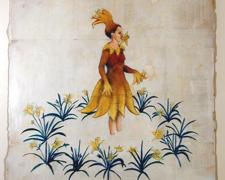 "Vintage Flower Girl 2006 acrylic, paper 17 x 14"""