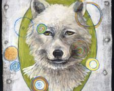 The Wolf 2009 acrylic on paper collaged canvas 8 1/2 x 6 1/2""