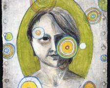 The Woman 2009 acrylic on paper collaged canvas 8 1/2 x 6 1/2""