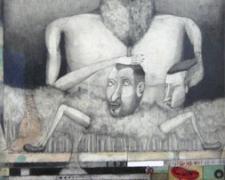 "Behind the Trees 2007 graphite, colored pencil, papier-mache 37 x 17 1/2"""