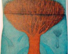 Mia's Red Tree, 2008, color pencil, graphite, collage, ink, i.s. 27 x 13""
